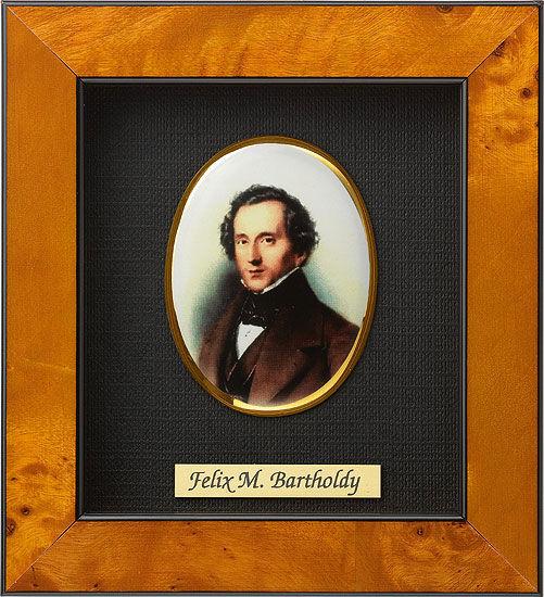 Miniature portrait of Felix Mendelssohn-Bartholdy (1809–1847), porcelain