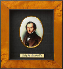 """Miniatur-Porzellanbild """"Felix Mendelssohn-Bartholdy"""" (1809-1847), gerahmt"""