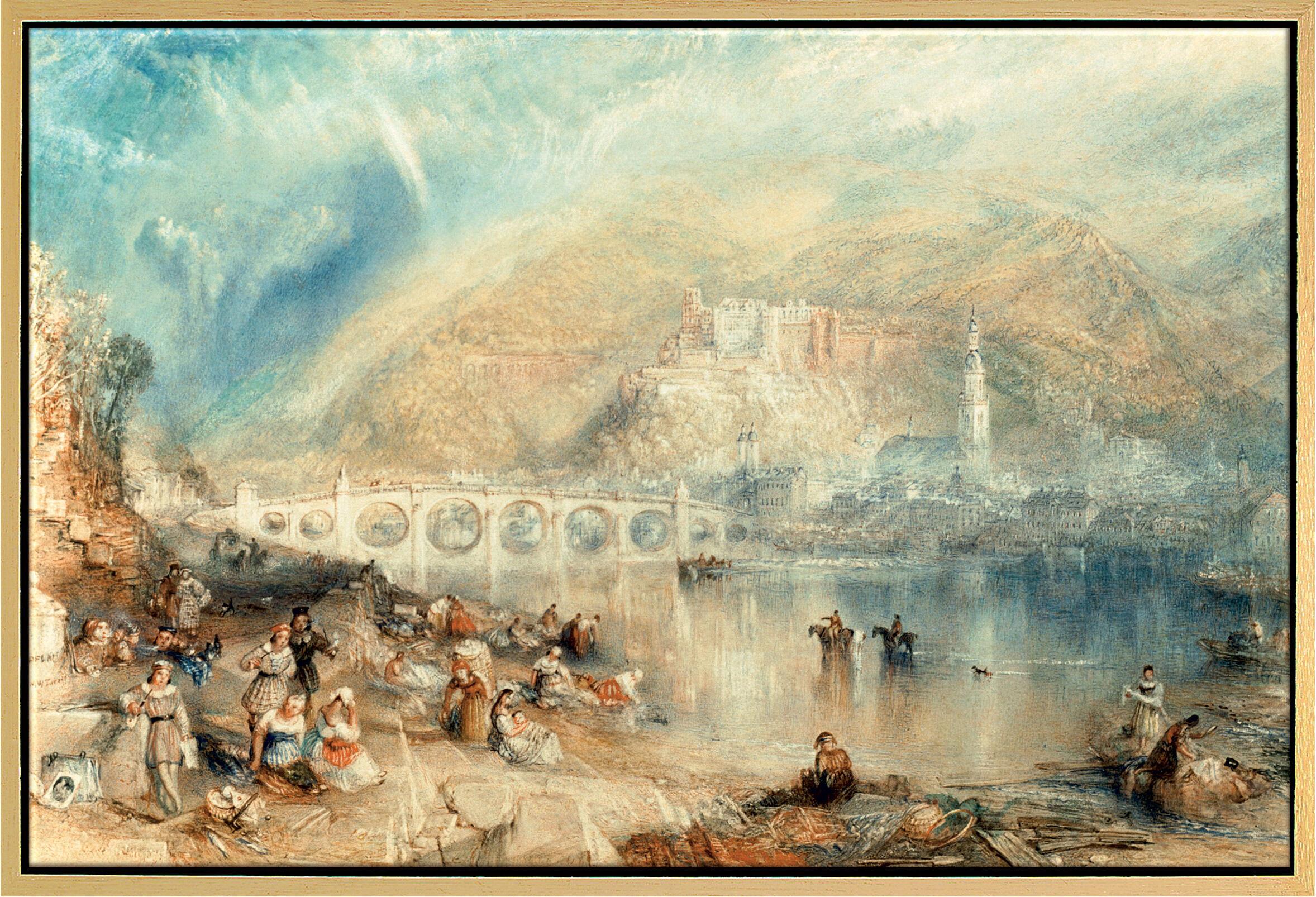 Painting 'Heidelberg with a Rainbow' (around 1841), framed