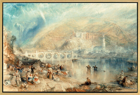 William Turner: Painting 'Heidelberg with a Rainbow' (around 1841), framed