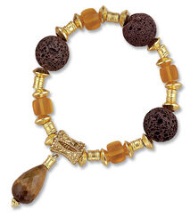 Bracelet 'Lava' with tiger eye drops