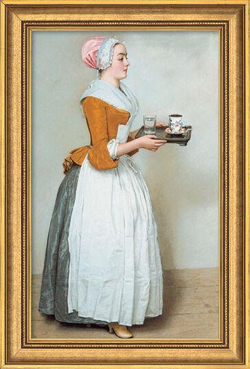"Jean-Étienne Liotard: Bild ""Schokoladenmädchen"" (1743-45), gerahmt"