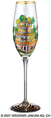 "(699A) Sparkling Wine Glass ""The Houses Are Hanging Underneath the Meadows"""