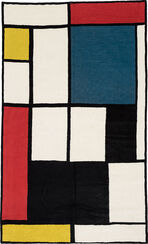 """Teppich """"Komposition in Rot, Blau und Gelb"""" (1930) (120 x 180 cm)"""