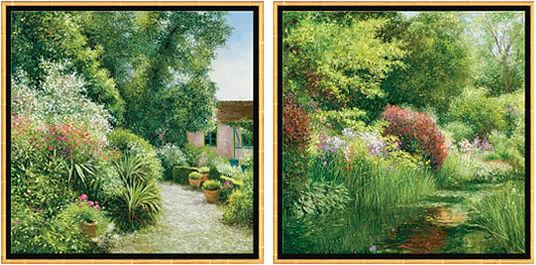 "Jean-Claude Cubaynes: 2 Bilder ""Le Jardin Baudy à Giverny"" + ""Le Mois de Mai à Giverny"" im Set"