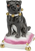 "Porcelain Figurine ""Mops on pillow"", black version"