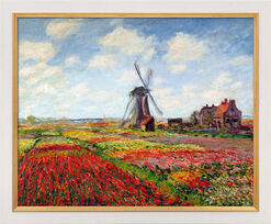 "Bild ""Champs de tulipes en Hollande - Tulpenfeld in Holland"" (1872), gerahmt"