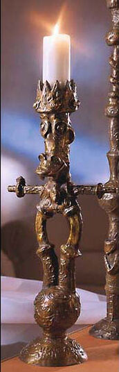 Andora + Della: Small bronze candlesticks, unpainted
