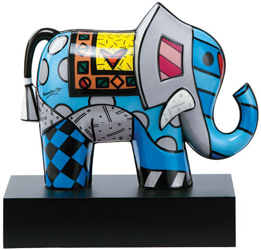 "Romero Britto: Porcelain Sculpture ""Great Iindia II"", Painted by Hand"