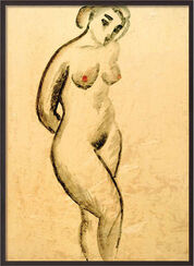 "Picture ""Nude Female , Standing"" (1913) in museum frame"