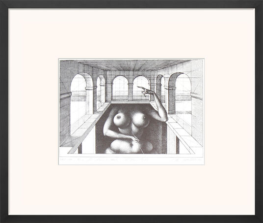 "Rudolf Hausner: Bild ""Eva Fundamental"" (1973), gerahmt"