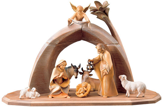 Ulrich Perathoner: Wood-Carved Saviour Nativity, Painted by Hand