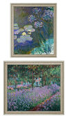"Set of 2 pictures ""Yellow water lilies and agapanthus"" + ""Irisbeet in Monet's Garden"""