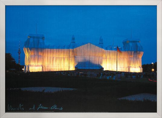"""Christo und Jeanne-Claude: Bild """"Reichstag Vorderseite nachts"""", gerahmt"""