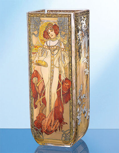"Alphonse Mucha: Glass vase ""Four Seasons"""