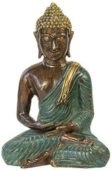 "Skulptur ""Meditierender Buddha"", Bronze Antikfinish"