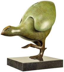 "Sculpture ""Coot Nr. 2"", Green Bronze"