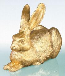 """Skulptur """"Das große Hasenstück (Gold)"""" (2003)"""