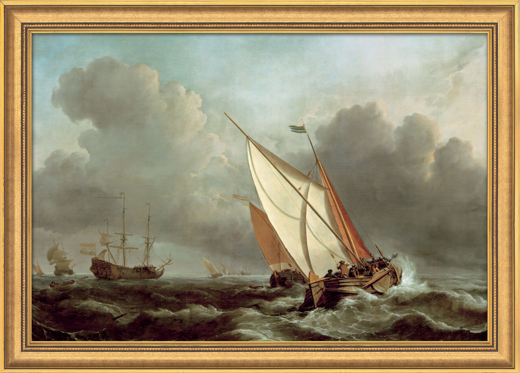 """Willem van de Velde: Bild """"Schiff in stürmischer See"""" (1671), gerahmt - ars mundi"""