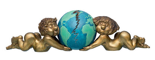 Loriot: Sculpture 'Puttos with Earth Globe', bronze