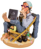 "Caricature ""The Computer Freak"", Artificial Casting, Hand-painted"