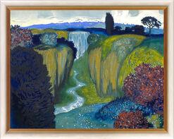 """Bild """"Landschaft mit Wasserfall"""" (um 1896), gerahmt"""