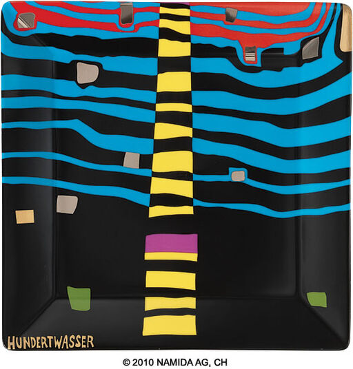 "Friedensreich Hundertwasser: Gift Bowl ""Detail of Infinity"" (23 x 23 cm, black)"