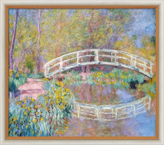 "Claude Monet: Bild ""Brücke in Monets Garten"" (1900), Version hell gerahmt"