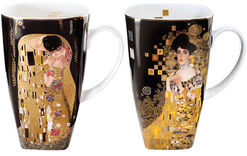 Two coffee mugs with artistic motives in a set