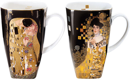 Gustav Klimt: Two coffee mugs with artistic motives in a set
