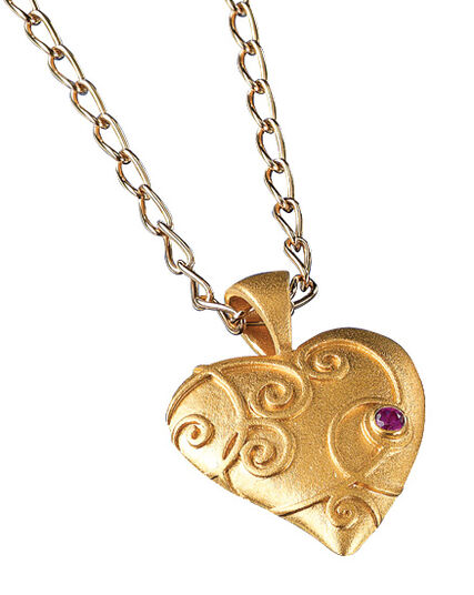 "Christiane Wendt: ""baroque heart pendant"" with necklace, 925 sterling silver, gilded"