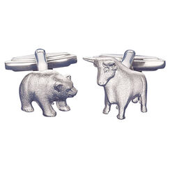 "Cuff Links ""Bull and Bear"", silver"