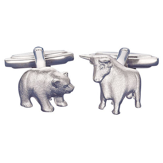 "Christiane Wendt: Cuff Links ""Bull and Bear"", silver"