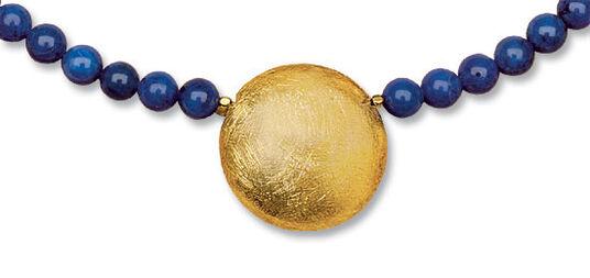 "Petra Waszak: Necklace ""Solar Disk"" with lapis lazuli pearls"