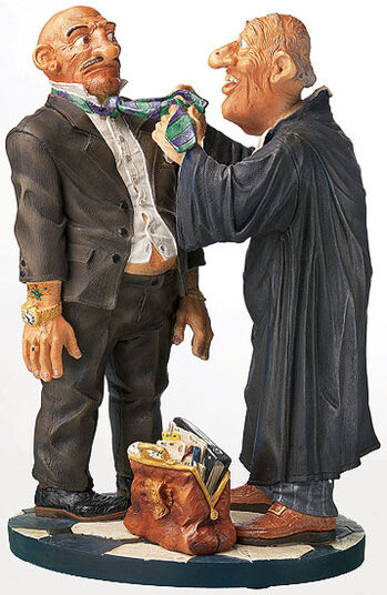 "Fons van Dommelen: Caricature ""The lawyer"", hand-painted, art castings"