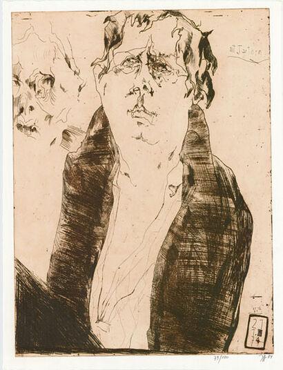 """Horst Janssen: Bild """"Selbst im Bademantel (mit Tantchen)"""" (1974)"""