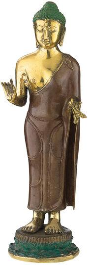 "Skulptur ""Buddha auf Lotusblatt"", Bronze"