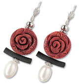 "Earrings ""Lava stone coral"""