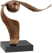 """Skulptur """"Sneeuwuil - Schneeeule"""", Bronze braun"""