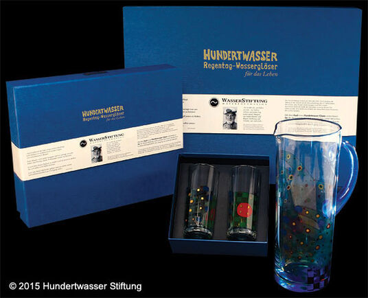 Friedensreich Hundertwasser: (Set C) 2 Rainy Day Water Glasses with book (without carafe)