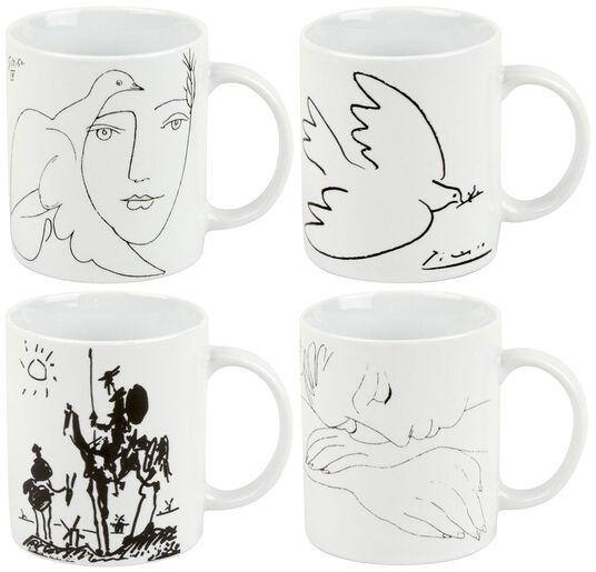Pablo Picasso: 4-teiliges Becherset schwarz/weiß mit Künstlermotiven
