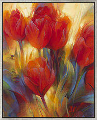 "Bild ""Rote Tulpen"" (Original / Unikat), gerahmt"