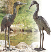 "2 Garden sculptures ""Grey Heron-Pair"" in a set, bronze"