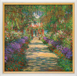 "Painting ""Garden in Giverny"" (1902) in a gallery frame"