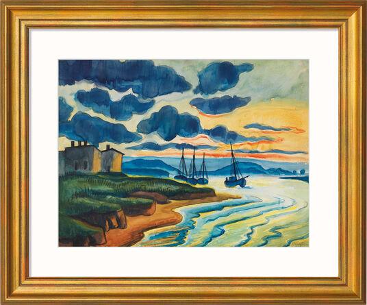 """Max Pechstein: Bild """"Sonnenuntergang"""" (1925), Version goldfarben gerahmt"""