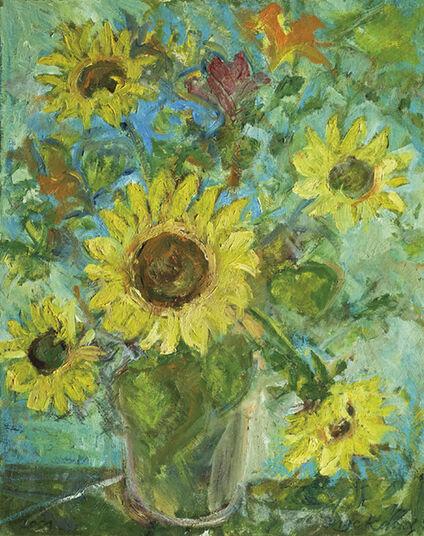 """Inge Karsch: Bild """"Vase mit Sonnenblumen vor Hibiskus"""" (2001) (Unikat)"""