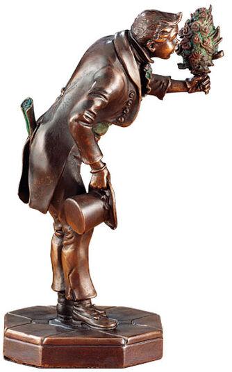 """Carl Spitzweg: Skulptur """"Der Ewige Hochzeiter"""", Version in Metallguss"""