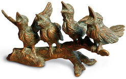 Group of sculptures 'Young Bird Quartet on the Branch', bronze