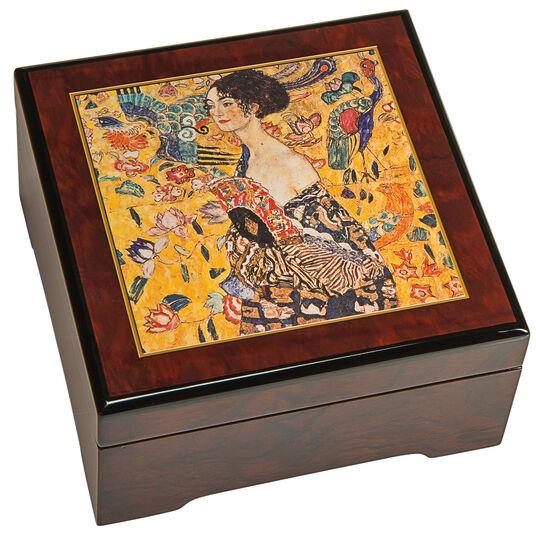 """Gustav Klimt: Musik-Schmuckbox """"Dame mit Fächer"""""""