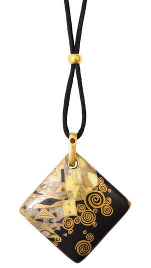 """Gustav Klimt: Porzellan-Anhänger """"Adele Bloch-Bauer"""" mit Stoffband"""